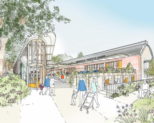 The CUE building is replaced with the shop pavilion and stepped garden / Studio Egret West
