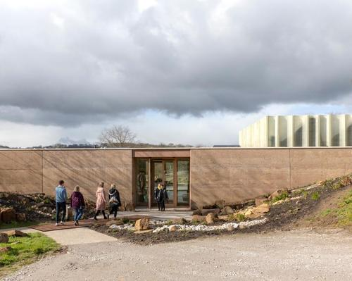 The Weston: The visitor centre's walls are constructed from layered pigmented concrete / Peter Cook