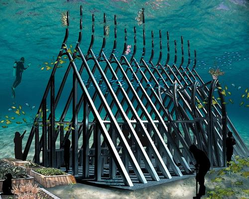 Artist's rendering of the Coral Greenhouse with surrounding sea-scaping