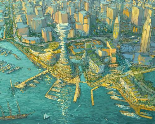 An artist's rendering of the Seaport San Diego concept, with the tower positioned at the water's edge