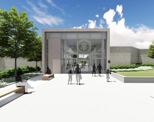 When it reopens, the Harry S. Truman Library and Museum will have a new glass entrance with a frosted presidential seal