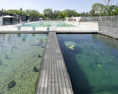 At one end of the complex, a pair of hydro-botanic regeneration pools undertake the filtration process / gh3 architecture