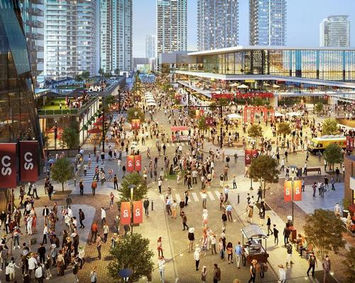 The sports and entertainment district will be anchored by a multi-use indoor arena