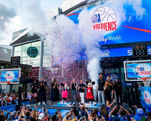 The launch event was a boisterous affair, with music, dancing, fans and NBA players past and present