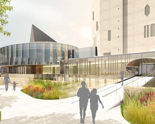 A rendering of the view of the welcome centre. To the right is the oval entrance to the Martin Building