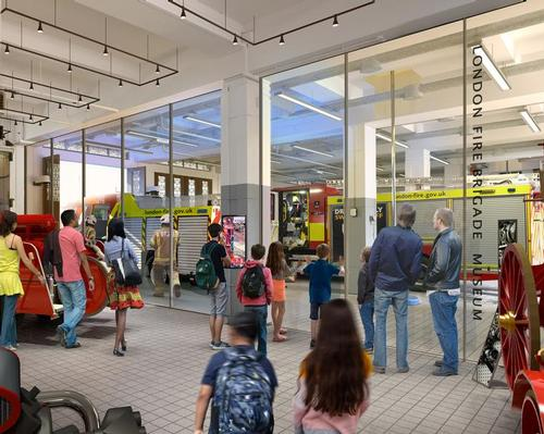 The CGI image released by architects Pilbrow & Partners shows historic fire fighting equipment alongside a modern, working fire station / Pilbrow & Partners