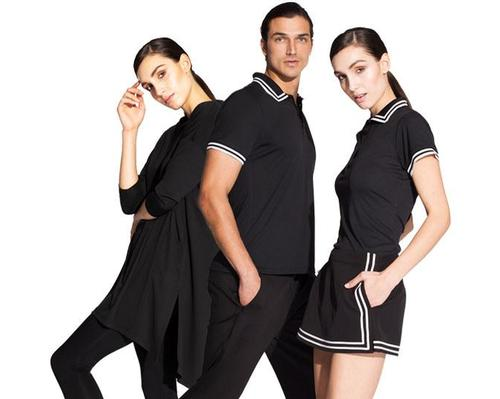 Recycled bottles are crushed, pelleted and spun into fabric to create Noel Asmar's sustainable and stylish uniforms