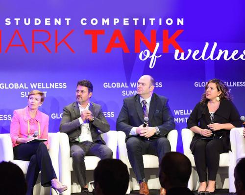 The 'Wellness Sharks' include Frank Pitsikalis (second from left) and Mia Lyrics (far right)
