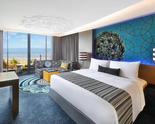 All of the 279 guestrooms and suites at W Muscat provide uninterrupted views ocean