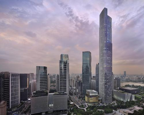 Located on the top 39 floors of the 108-story CTF Finance Centre, the 251-bedroom hotel has been designed by Yabu Pushelberg as a 'sky-high urban oasis'.
