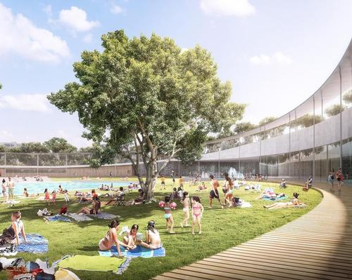 The circular centre will house and envelop a 10-lane, 50m outdoor pool and a 25m indoor pool