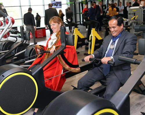 Mayor of Barnet Caroline Stock (left) with deputy mayor Lachhya Bahadur Gurung at the New Barnet Leisure Centre
