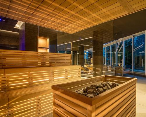 The Finnish sauna will host rituals executed by Aufguss masters, while a Turkish bath features heated benches made from naturally treated Ecomalta / Chiara Grossi
