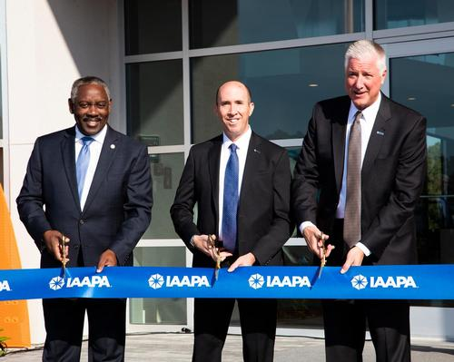 Opening ceremony: David Rosenberg (centre) and Hal McEvoy (right) perform ribbon-cutting duties with Orange County mayor Jerry Demings