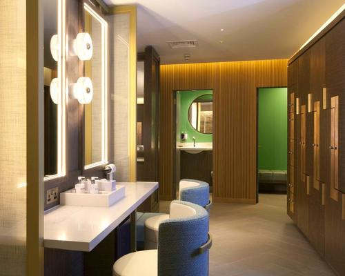 Changing rooms are furnished with Tom Dixon lights and use Gantner wristbands to operate lockers.