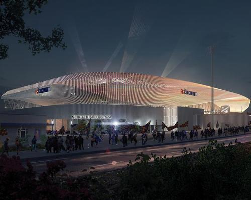 The stadium will feature a vertical façade of 513 fins lit by colour-changing LEDs / Populous