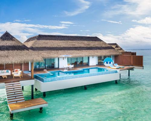 The resort has has 122 villas that are either beachside or overwater
