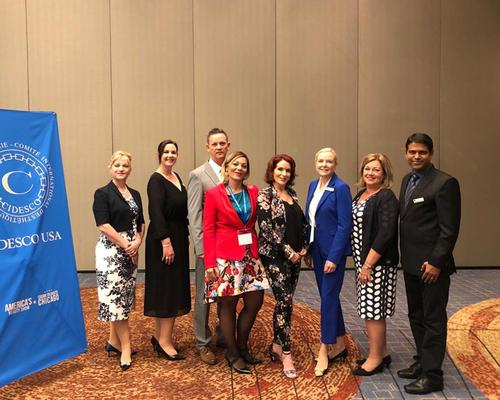 The CIDESCO International Board from l-r: Pamela Adkins, Vicky Harper, Gerard Gordon, Laura Grazioli, Sandy Fuhr, Anna-Cari Gund, Karin Lupgens and Biju Nair