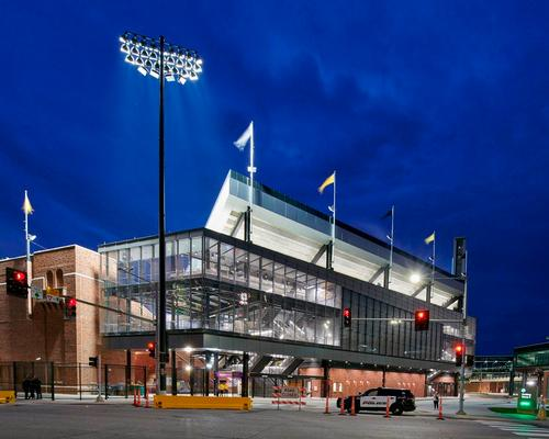 Revamped Kinnick Stadium wrapped in breathable glass façade