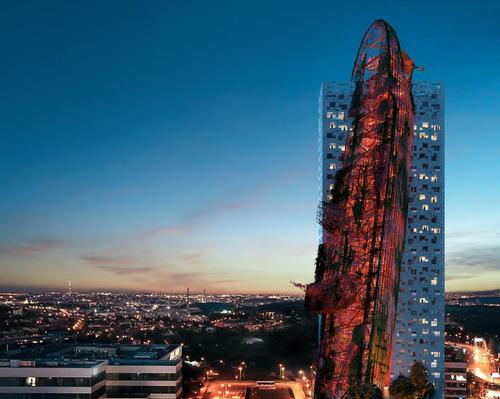 Top Tower building comprises a conventional high-rise tower with a sculptural, structural frame