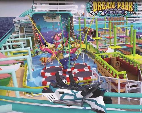 The Dream Park at the Pier theme park on board Global Dream includes a Maurer rollercoaster