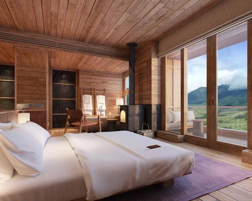 The lodge is perched 3,000 meters about the Phobjikha valley, offering guests views of the surrounding natural beauty.