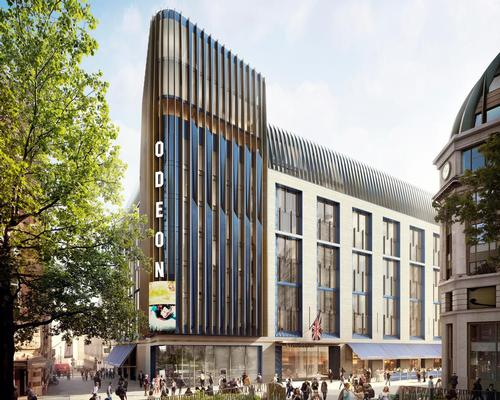 The building's tower will be wrapped in a faceted, ultramarine blue faience soffit / Woods Bagot
