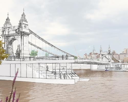 Additional pontoon structures would be added to the bridge piers so that riverboat services could dock and run from the bridge / The Manser Practice