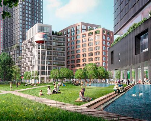 The site will incorporate green spaces with water / Allies and Morrison