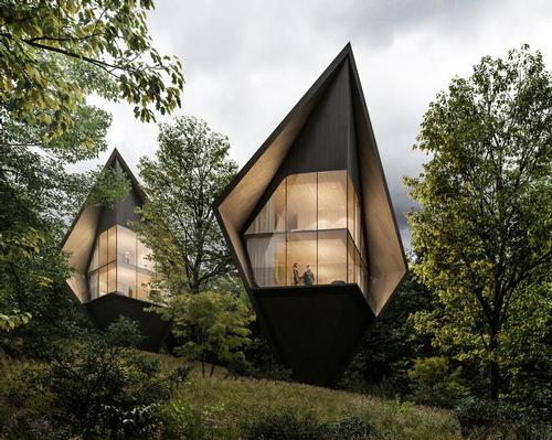 The sharp, steep roofs of the treehouses are inspired by the surrounding fir and larch trees