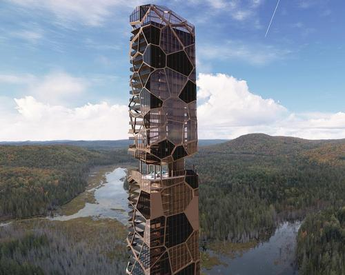 MU Architecture's paleofuturist forest tower houses a luxury retreat