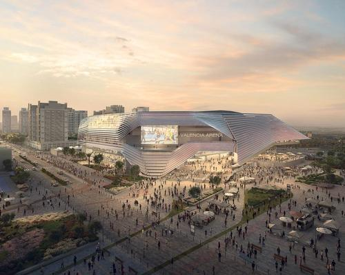 The arena will be able to seat up to 15,600 people or accommodate up to 18,600 people standing / HOK & ERRE