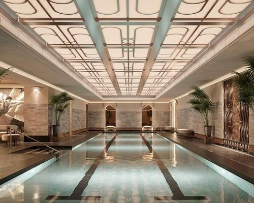 The Tower's pool area is designed in the Art Deco style