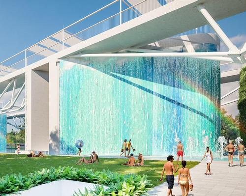 Cascading waterfalls are enclosed within glass walls to reduce noise