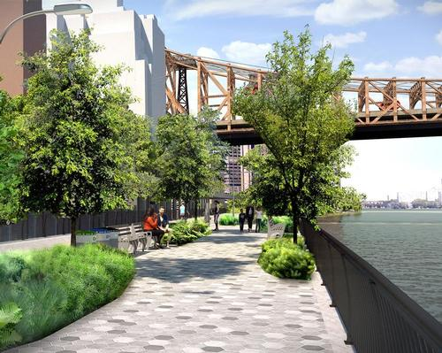 The East Midtown Greenway forms part of the 22-block East Midtown Waterfront / Courtesy of Stantec
