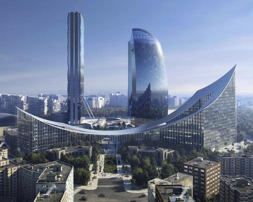 The design is aimed in part at framing or celebrating the existing towers on the site / Beauty and The Bit