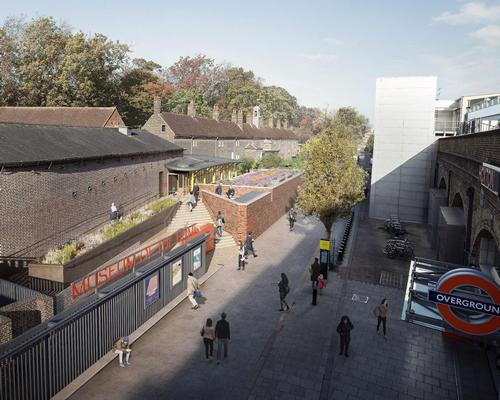 An illustration of the Museum of the Home's new entrance, opposite Hoxton train station / Secchi Smith