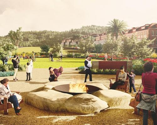 A campfire seating circle with trees for shade will provide a place to gather / James Corner Field Operations