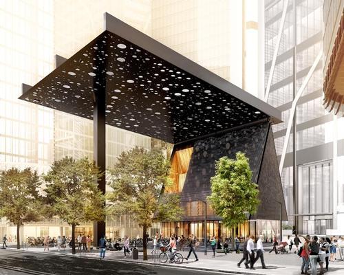 A 27x34m (89x112ft) canopy will cover the plaza below / Adjaye Associates