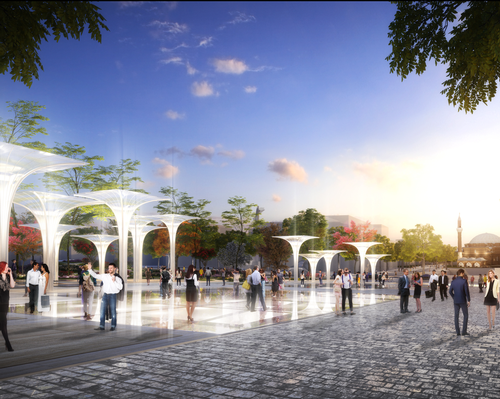 Archaeological ruins will be covered walkable glass so as to showcase them to passersby and visitors to the square
