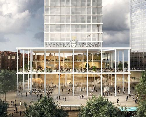 The base of the building will accommodate a raised, covered terrace and provide cover for part of the plaza / Tham & Videgård Arkitekter
