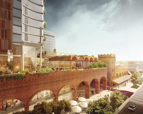 The social and commercial precinct will be the cornerstone of the broader market district / Woods Bagot