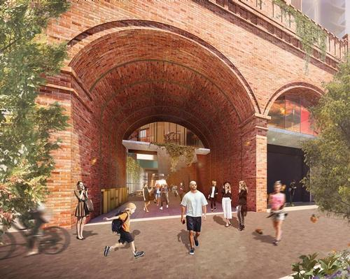 The arcade's brick arches will be reinstated to create continuity with those of the market building