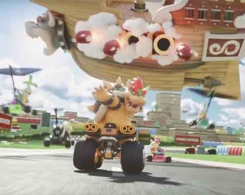 The music video shows a sneak peek of the upcoming Mario Kart attraction
