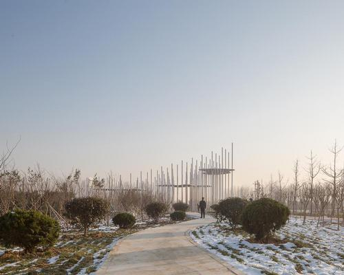 The pavilion covers an area of 350sq m (3,770sq ft) / Aurelien Chen
