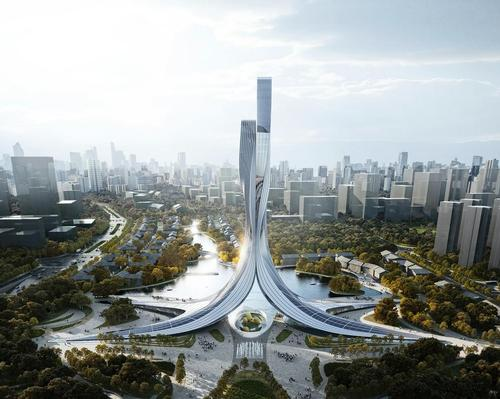 The Xiangjiang Gate will comprise two bipedal towers that will rise gracefully together to 177m (581ft) / RMJM Shanghai