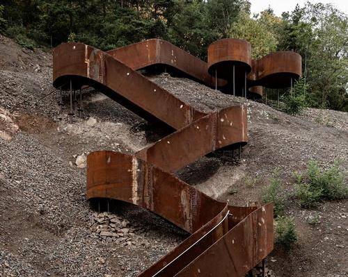 Reiulf Ramstad Architects create steel installations along former railway