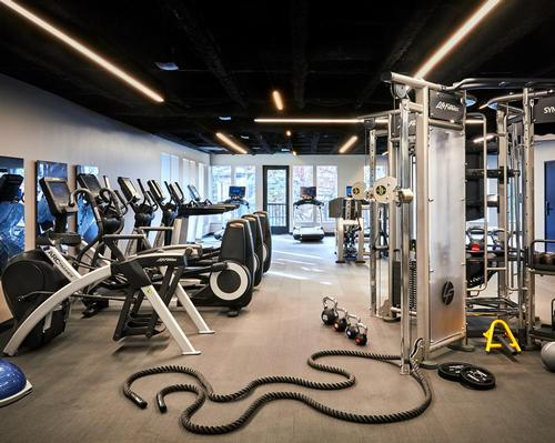 Adjacent to the spa is a 24-hour gym supplied by Life Fitness with Peloton stationary bikes