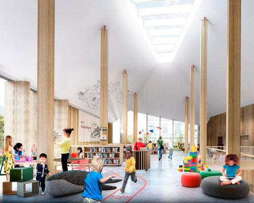 The library would house a citizens' service centre, a tourist information centre and flexible common rooms, outdoor spaces and administrative offices / Schmidt Hammer Lassen