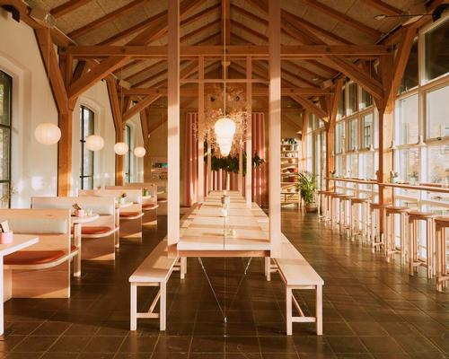 Copenhagen restaurant interior made from single Douglas fir tree